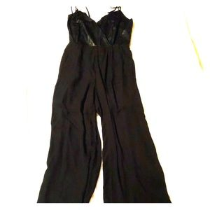 Black spaghetti strap long jumpsuit